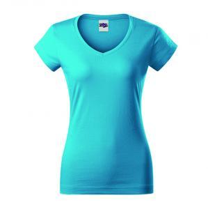 Sieviešu kokvilnas T-krekls ar V kakla izgriezumu